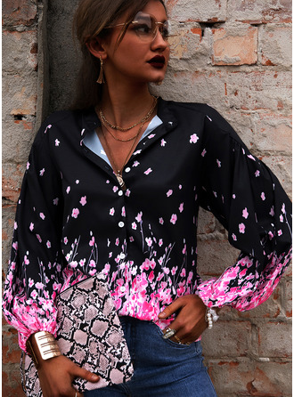 Regular Cotton Blends V-Neck Floral Print 3XL L S M XL XXL Blouses