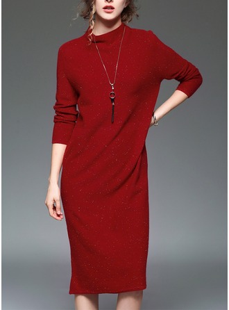 Iimitation Rabbit Hair/Chinlon/Cashmere With Stitching Knee Length Dress