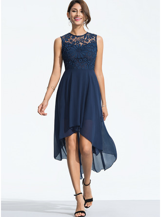 Lace/Chiffon With Lace Asymmetrical Dress