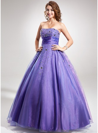 Ball-Gown Strapless Floor-Length Organza Prom Dress With Ruffle Beading Sequins
