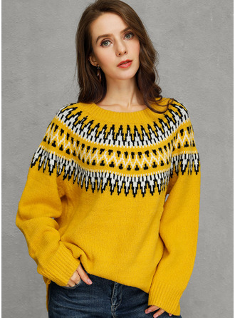 Print Chunky knit Polyester Pullovers Sweaters