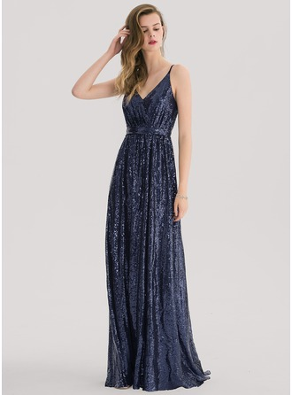 A-Line/Princess V-neck Sweep Train Sequined Prom Dress With Lace Sequins