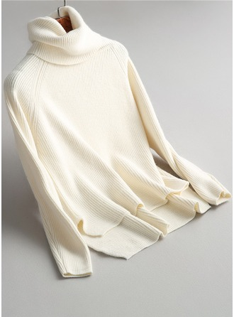 Plain Ribbed Knit Turtleneck Sweater Sweaters