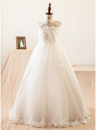 Floor-length Flower Girl Dress - Satin Tulle Sleeveless Mandarin collar With Beading Appliques