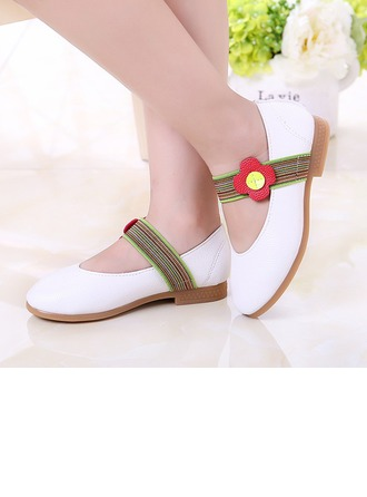 Girl's Leatherette Flat Heel Round Toe Closed Toe Flats With Satin Flower