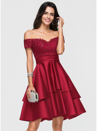 Off-the-Shoulder Knee-Length Satin Prom Dresses With Lace Sequins
