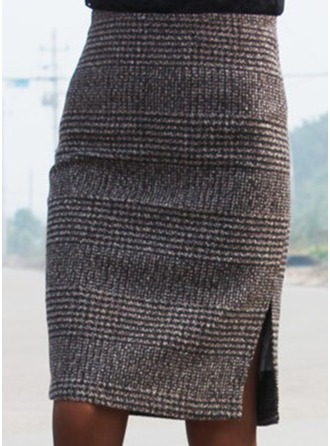Polyester Plaid Knee Length Bodycon Skirts