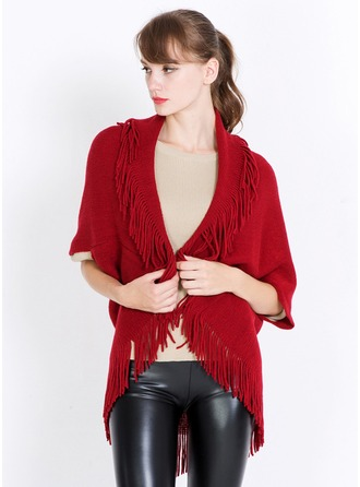 Solid Color/Tassel Oversized/fashion/simple Cashmere Poncho