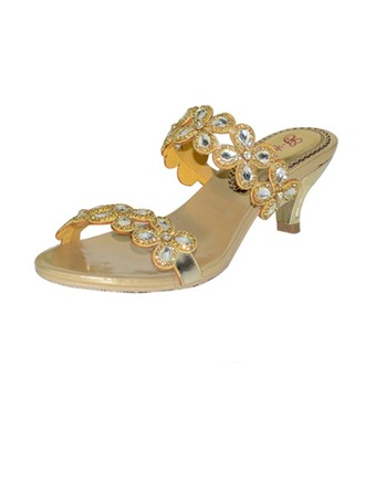 Women's Leatherette Low Heel Sandals With Rhinestone