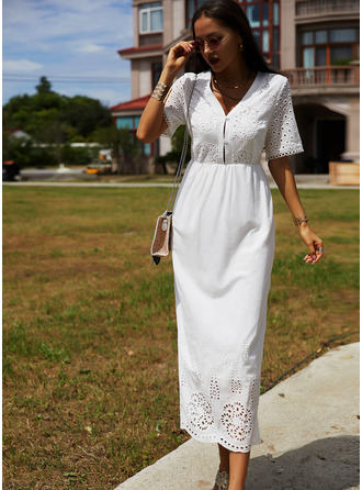 Solid A-line V-Neck Short Sleeves Maxi Elegant Skater Dresses
