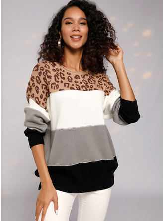 Color Block Animal Print Chunky knit Polyester Round Neck Pullovers Sweaters
