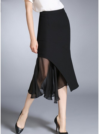 A-Line Skirts Mid-Calf Plain Cotton Skirts