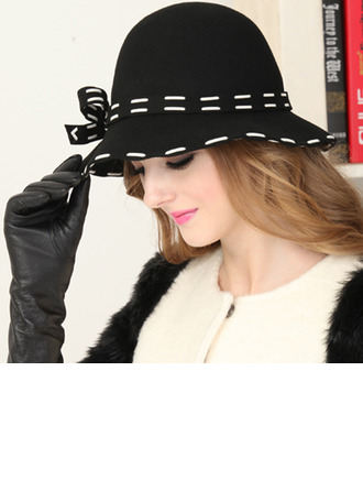 Ladies' Elegant Wool With Bowknot Bucket Hats