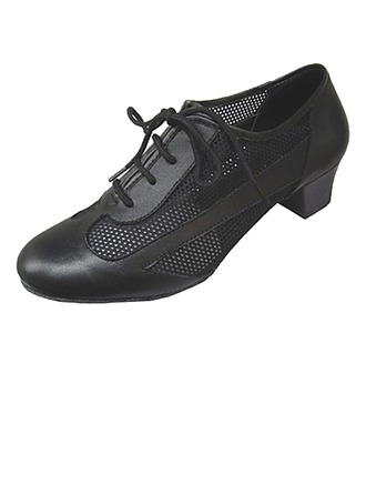 Women's Real Leather Heels Pumps Ballroom Practice With Hollow-out Dance Shoes