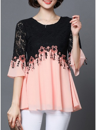 Lace Flare Sleeve Round Neck Casual Blouses ()