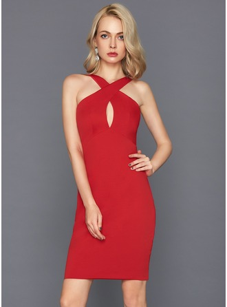 Sheath/Column V-neck Knee-Length Jersey Cocktail Dress