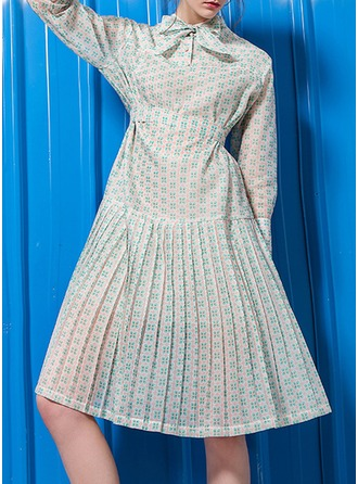 Polyester With Bowknot/Crumple Knee Length Dress