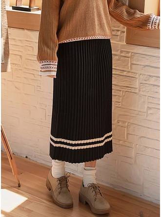 Pleated Skirts Maxi Knitting Skirts