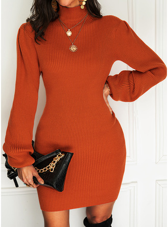 Solid Turtleneck Long Sleeves Casual Long Tight Sweater Dress Dresses