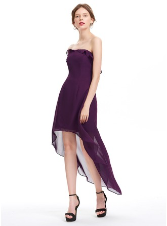 A-Line/Princess Strapless Asymmetrical Chiffon Homecoming Dress With Cascading Ruffles