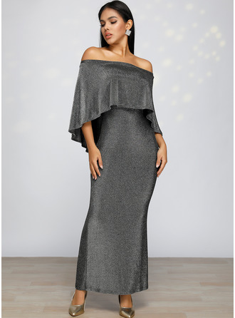 Polyester With Sequins/Solid/Slit Maxi Dress