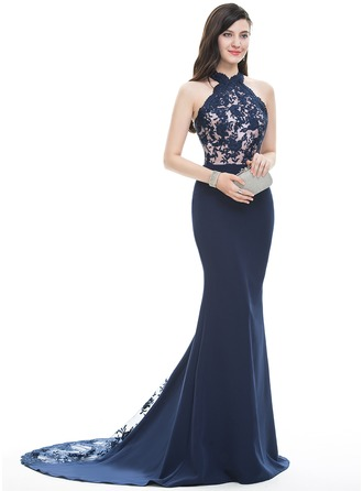 Trumpet/Mermaid Halter Court Train Satin Prom Dress