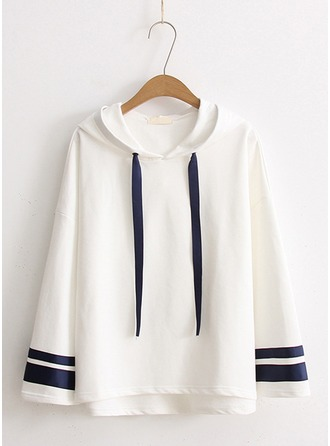 Striped Cotton Blends Hoodie Sweatshirts