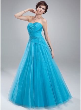 Ball-Gown Sweetheart Floor-Length Tulle Prom Dress With Ruffle Beading