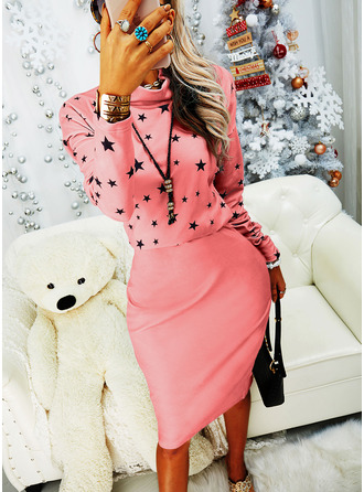 Print Sheath High Neck Long Sleeves Midi Casual Dresses