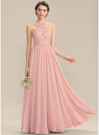 Scoop Neck Sweep Train Chiffon Lace Prom Dresses With Sequins