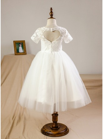 Knee-length Flower Girl Dress - Tulle Lace Short Sleeves Scoop Neck