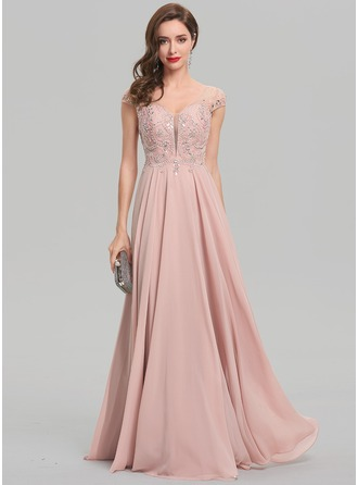 A-Line/Princess V-neck Floor-Length Chiffon Evening Dress With Beading Sequins