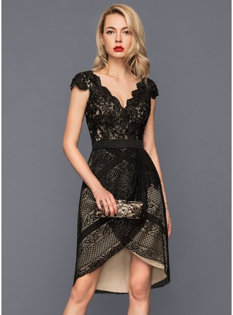 Sheath/Column V-neck Asymmetrical Lace Cocktail Dress With Bow(s)
