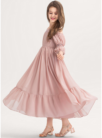 Square Neckline Ankle-Length Chiffon Junior Bridesmaid Dress With Ruffle Lace