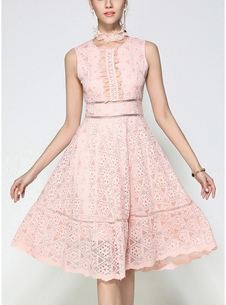 Lace With Lace/Stitching/Hollow/Ruffles Knee Length Dress