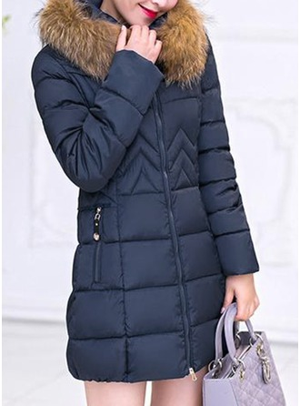 Cotton Long Sleeves Plain Down Coats ()