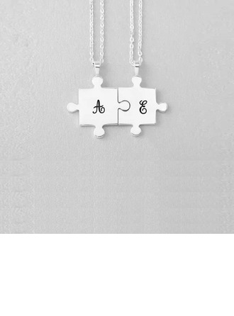 Personalized Couples' Romantic 925 Sterling Silver Initial Necklaces For Friends/For Couple