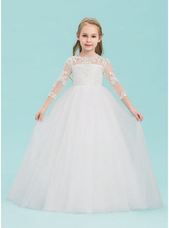 Floor-length Flower Girl Dress - Tulle 3/4 Sleeves Scoop Neck