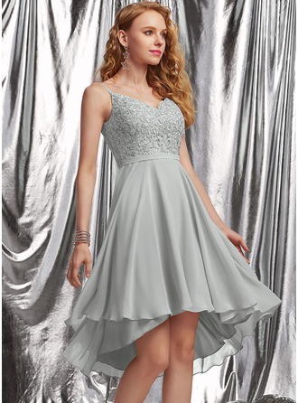 A-Line V-neck Asymmetrical Chiffon Prom Dresses With Beading