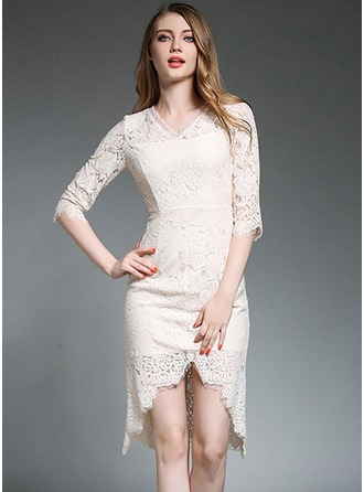 Polyester/Lace With Lace/Stitching Knee Length Dress