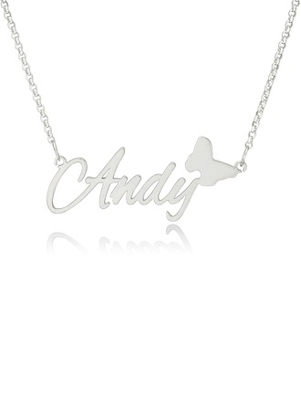 Custom Sterling Silver Name Necklace With Butterfly