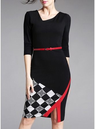 Cotton Blends With Stitching/Grid Knee Length Dress