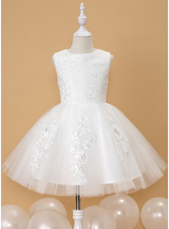 Ball-Gown/Princess Knee-length Flower Girl Dress - Tulle Sleeveless Scoop Neck With Lace Sequins