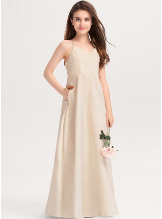 V-neck Floor-Length Satin Junior Bridesmaid Dress With Pockets