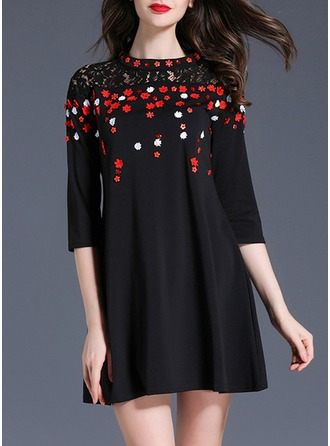 Cotton With Lace/Stitching/Hollow Above Knee Dress