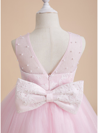 Knee-length Flower Girl Dress - Tulle Lace Sleeveless Scoop Neck With Beading Bow(s)