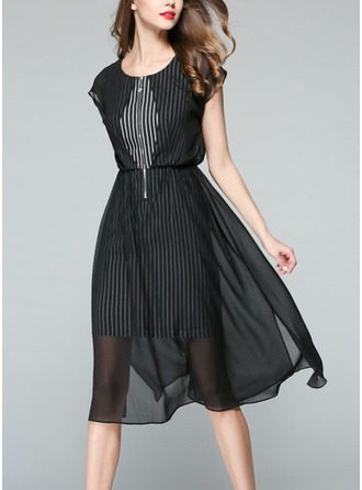 Chiffon With Stitching Knee Length Dress