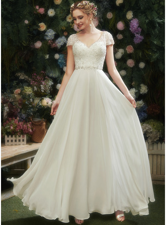 V-neck Floor-Length Wedding Dress With Lace Beading Sequins