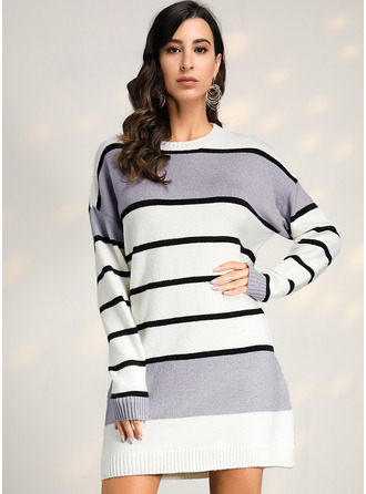 Striped Cable-knit Chunky knit Polyester Round Neck Pullovers Sweater Dresses Sweaters