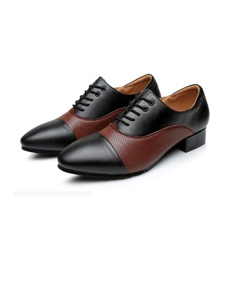 Men's Real Leather Flats Latin Modern Ballroom Party Tango With Lace-up Dance Shoes